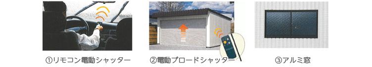 プレハブオプション リモコン電動シャッター 電動ブロードシャッター アルミ窓