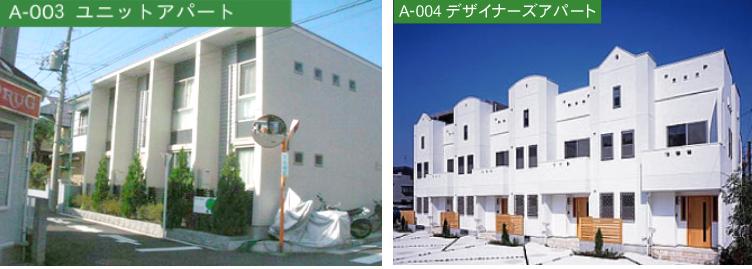 A-003ユニットアパート A-004デザイナーズアパート