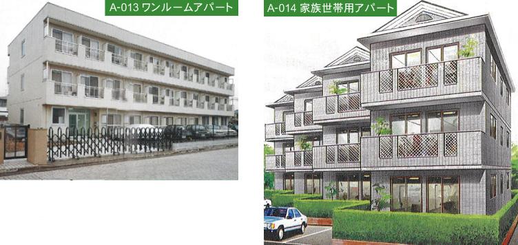 A-013ワンルームアパート A-014家族世帯用アパート