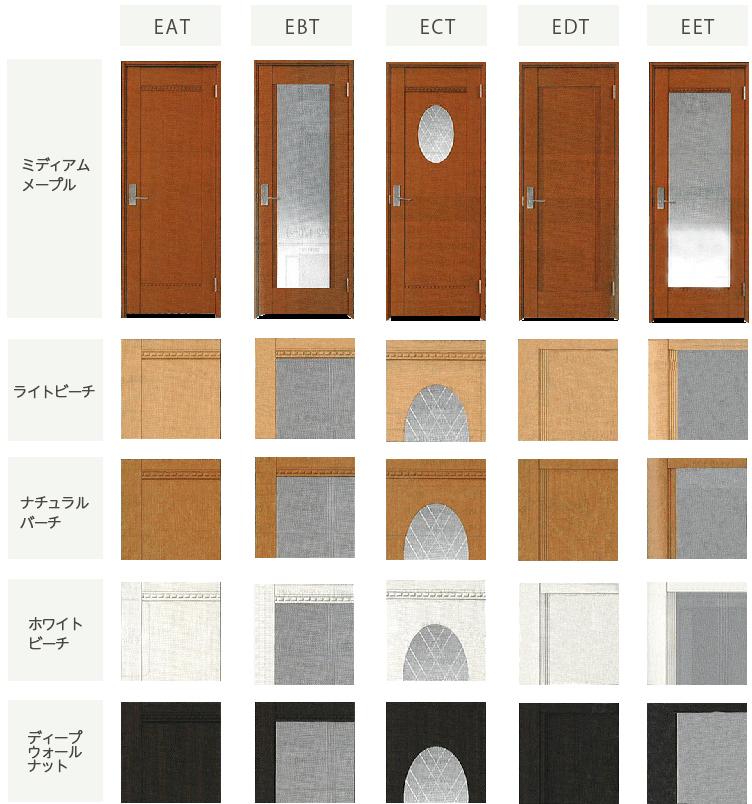 ドアパネルのデザイン・カラーバリエーション